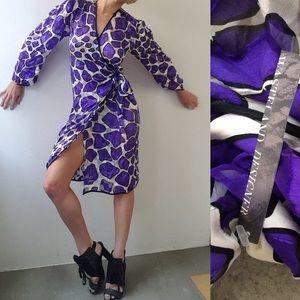 70s Prada disco print wrap silk plunging dress 6/8